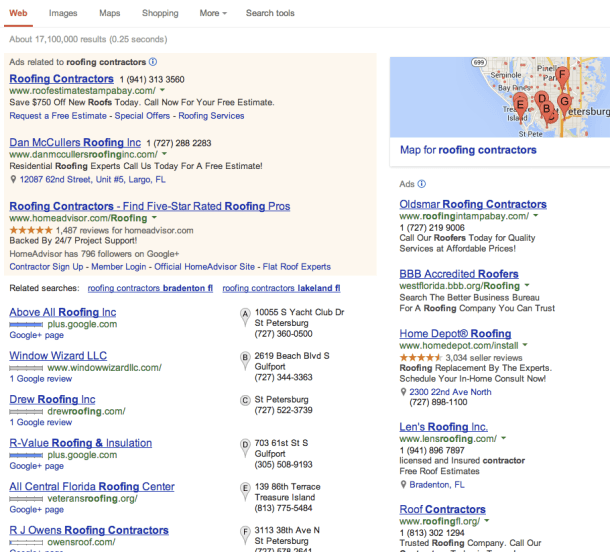 roofing company google search results